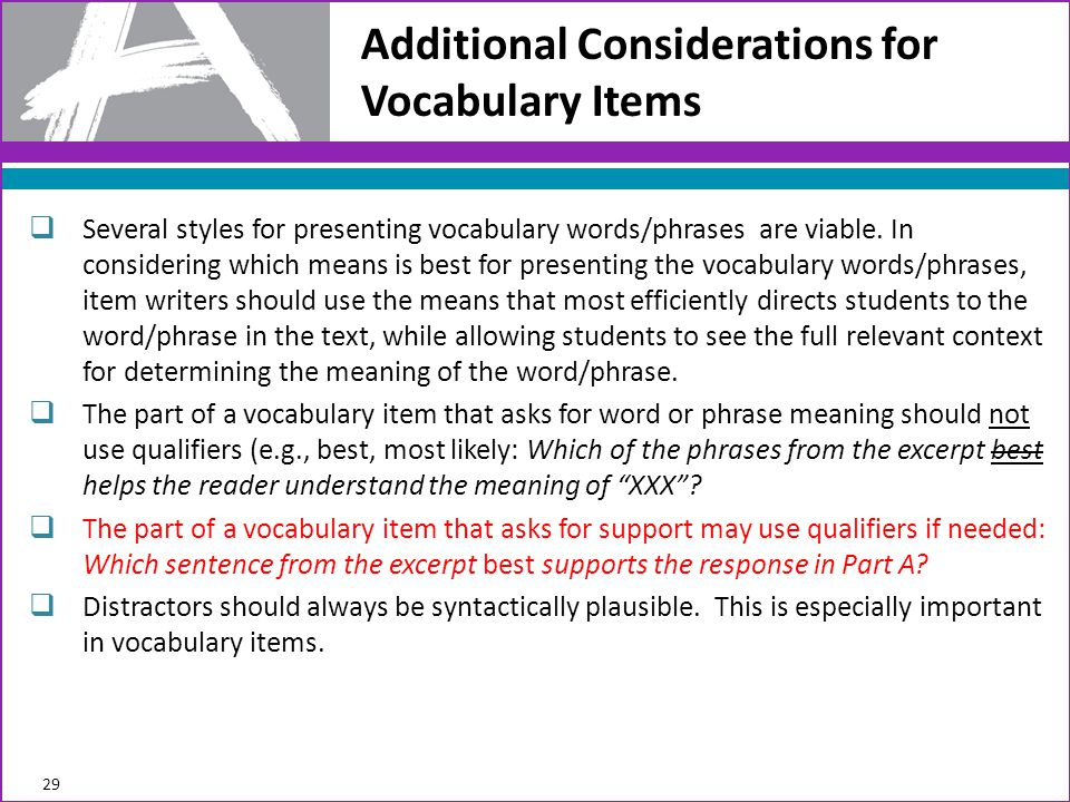 Additional Considerations for Vocabulary Items