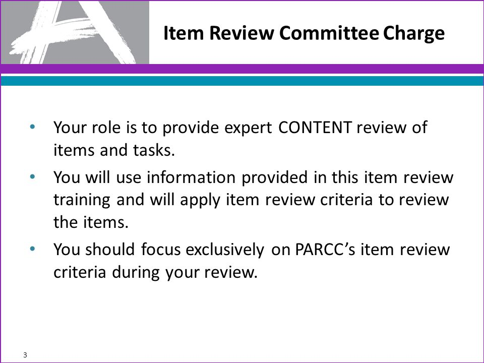 Item Review Committee Charge