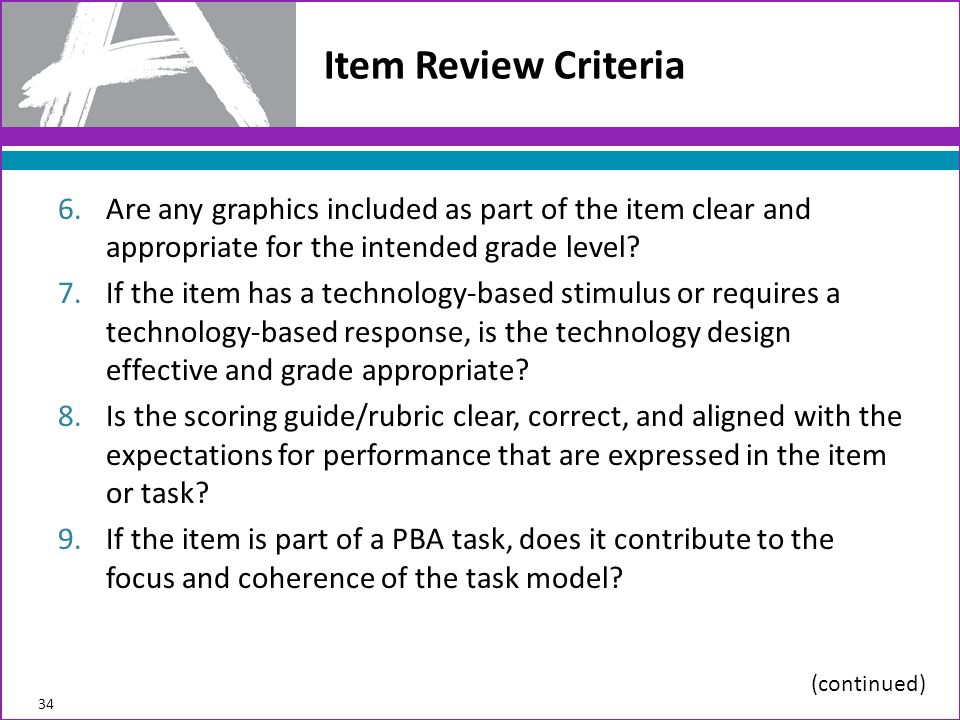 Item Review Criteria Are any graphics included as part of the item clear and appropriate for the intended grade level
