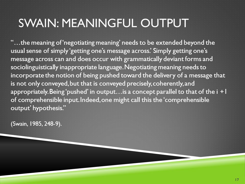 Swain: Meaningful OUtput