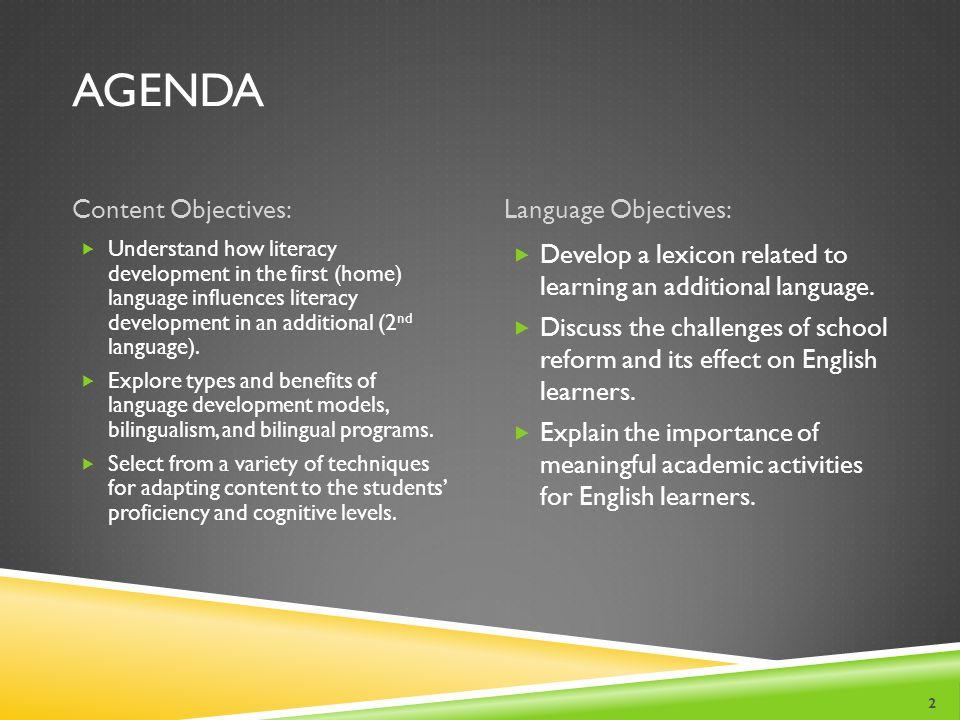 Agenda Content Objectives: Language Objectives: