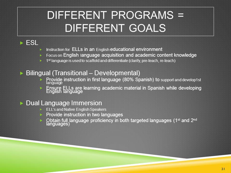 Different Programs = Different Goals