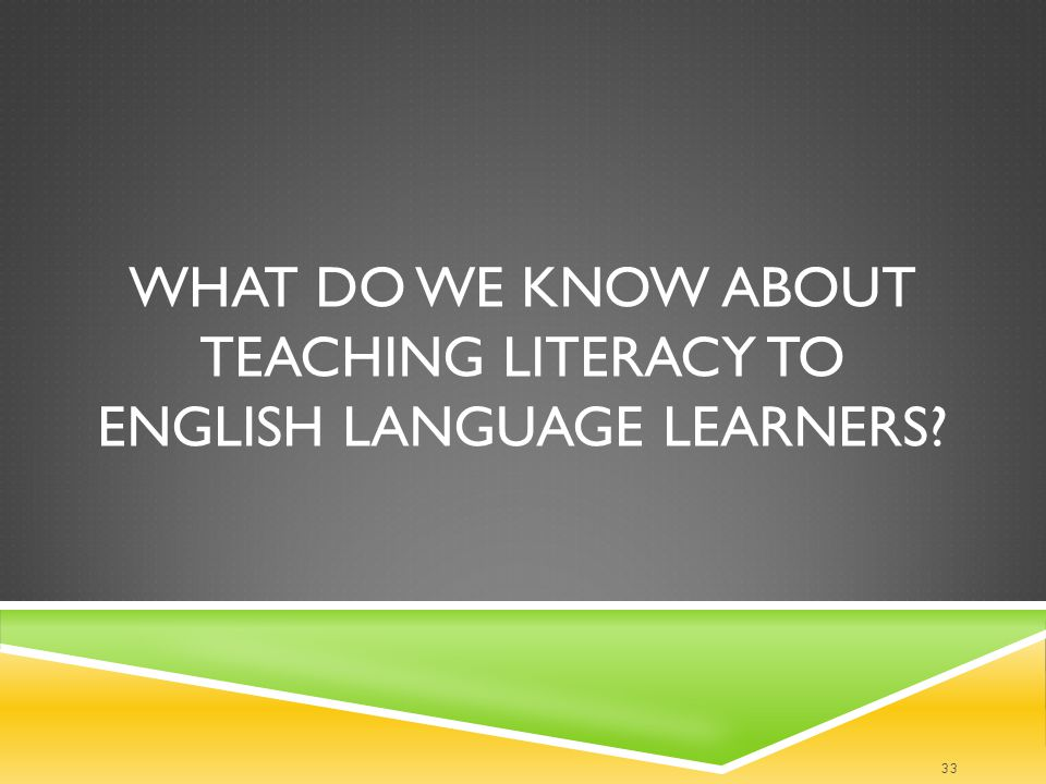 What do we know about teaching literacy to English language learners