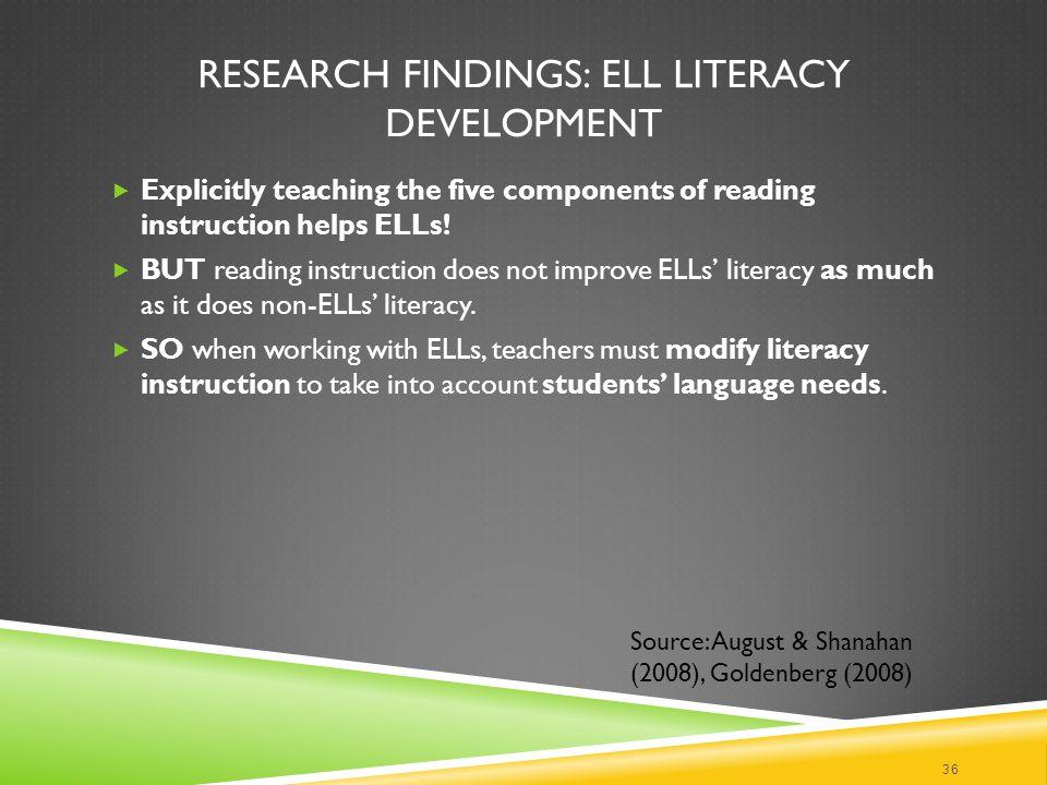 Research Findings: ELL Literacy Development