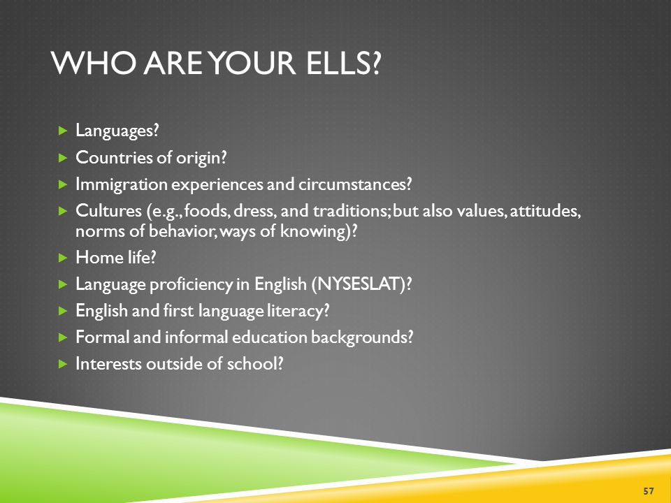 Who Are Your ELLs Languages Countries of origin