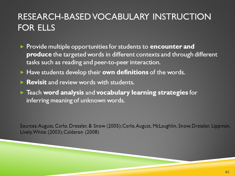 Research-Based Vocabulary Instruction for ELLs