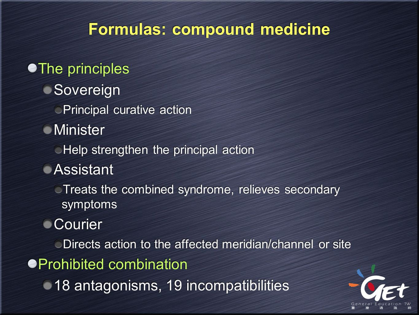 Formulas: compound medicine