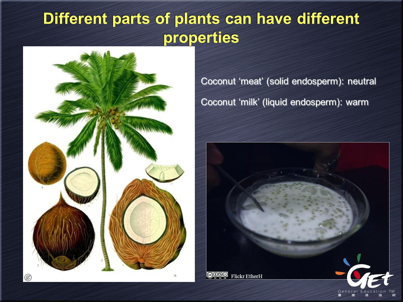 Different parts of plants can have different properties