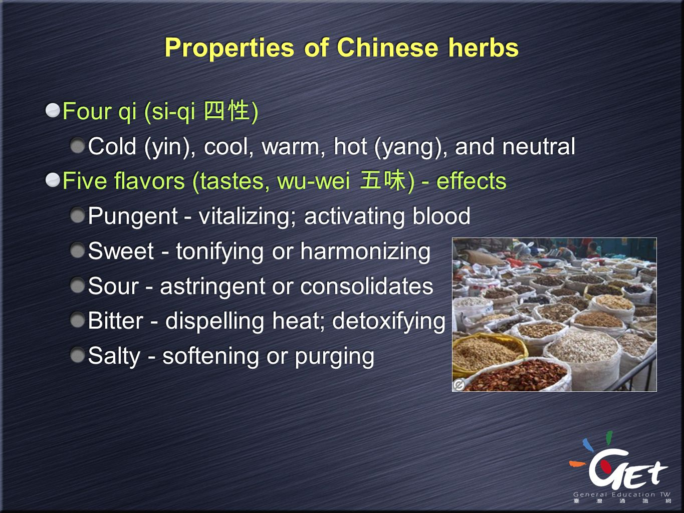 Properties of Chinese herbs