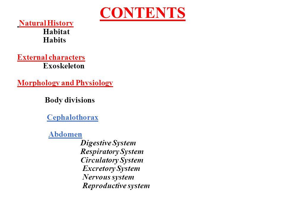 CONTENTS Habitat Habits External characters Exoskeleton
