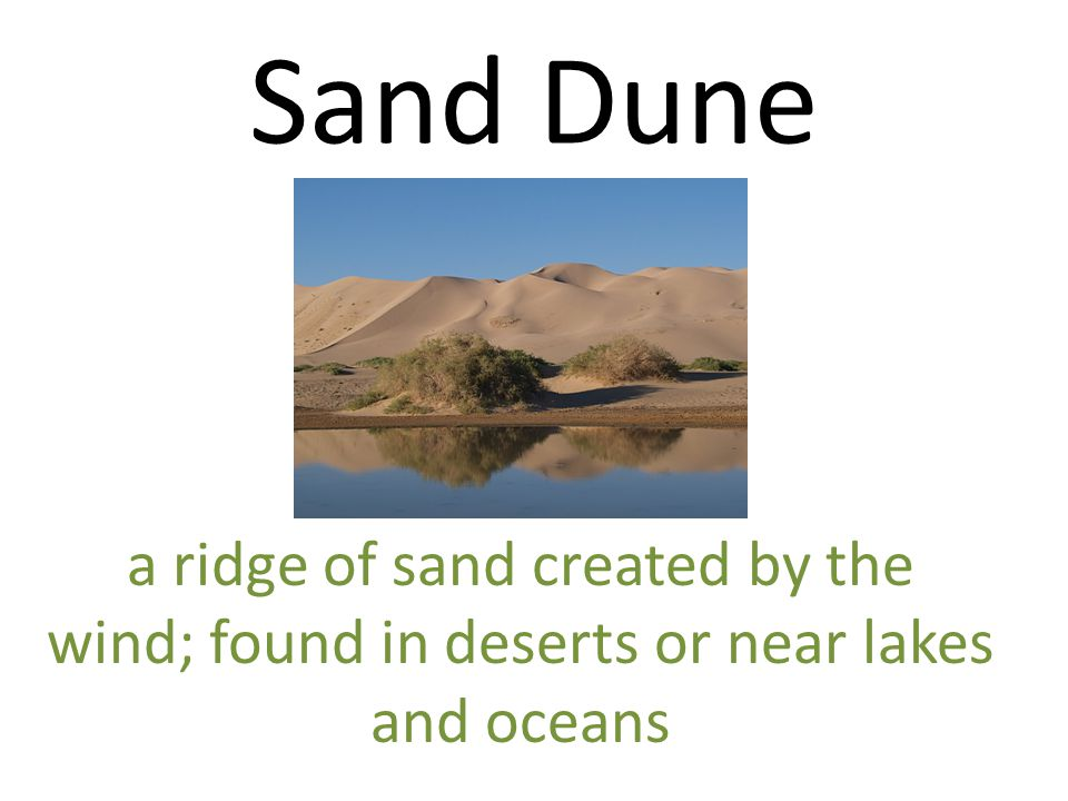 Sand Dune a ridge of sand created by the wind; found in deserts or near lakes and oceans