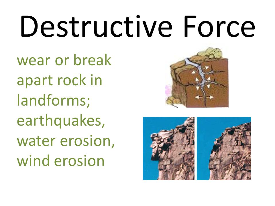 Destructive Force wear or break apart rock in landforms;