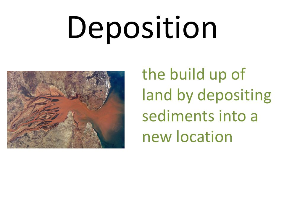 Deposition the build up of land by depositing sediments into a new location
