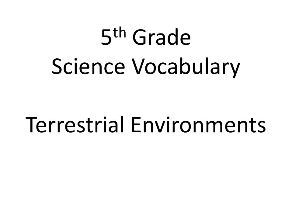 5th Grade Science Vocabulary Terrestrial Environments