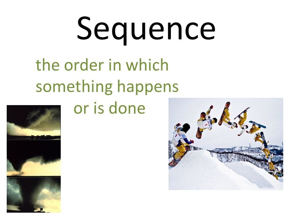 Sequence the order in which something happens or is done