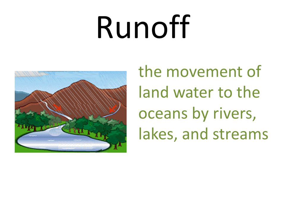 Runoff the movement of land water to the oceans by rivers, lakes, and streams