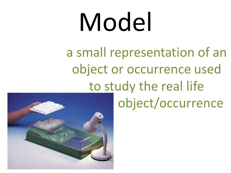 Model a small representation of an object or occurrence used to study the real life.