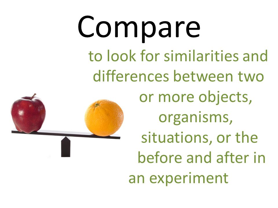 Compare to look for similarities and differences between two