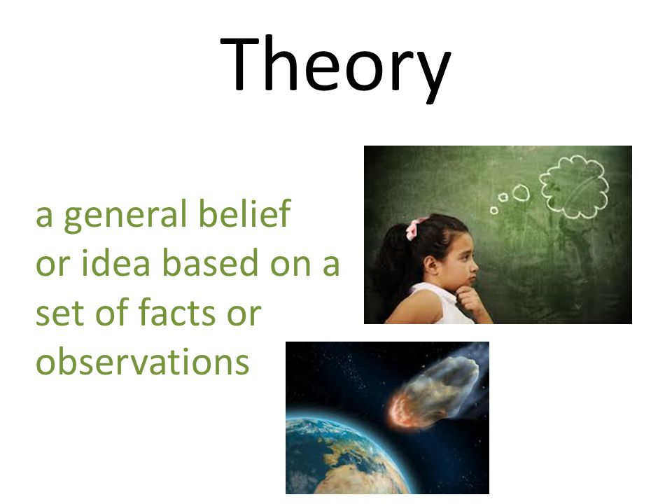 Theory a general belief or idea based on a set of facts or