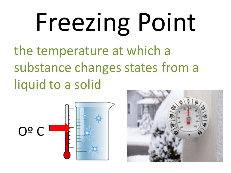 Freezing Point the temperature at which a substance changes states from a liquid to a solid Oº C