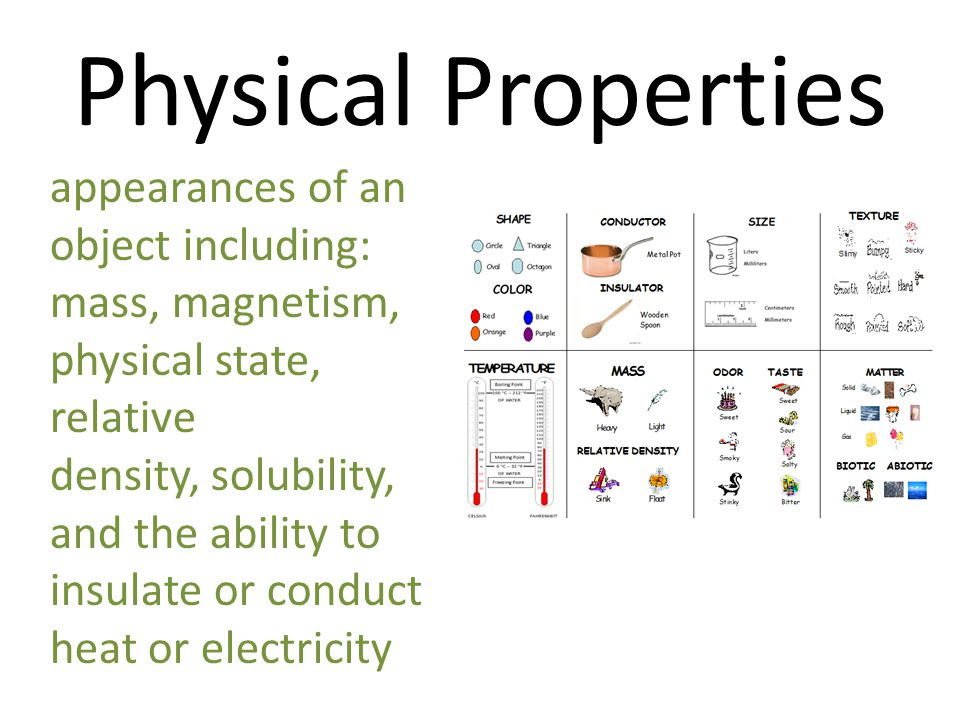 Physical Properties appearances of an object including: