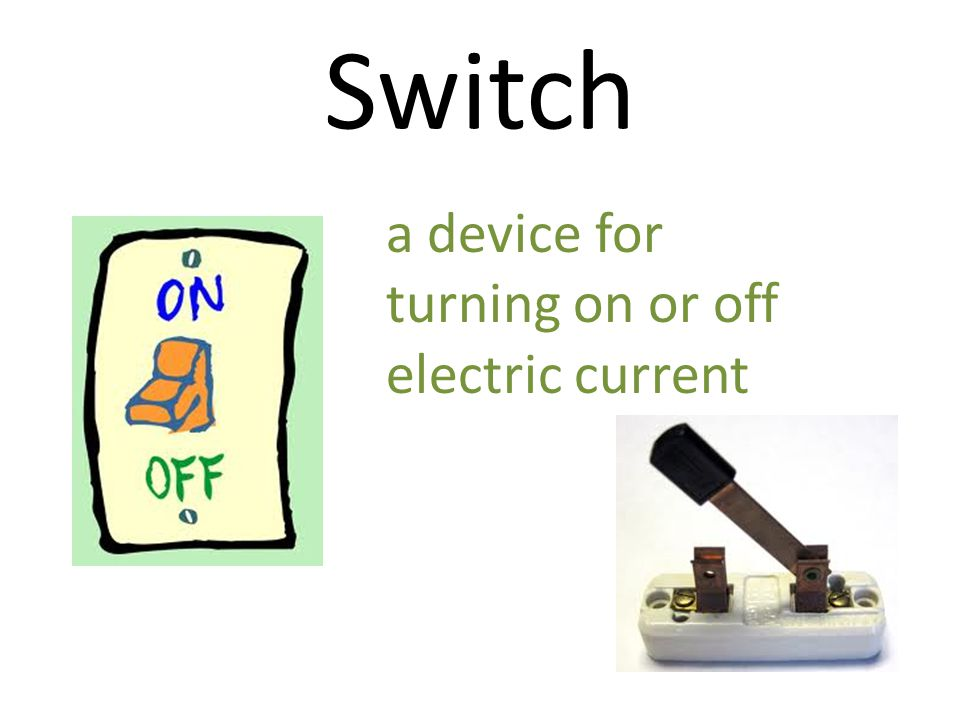 Switch a device for turning on or off electric current