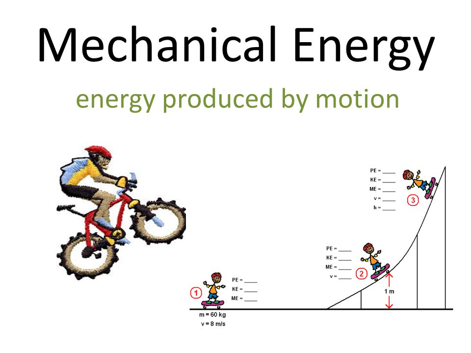 Mechanical Energy energy produced by motion