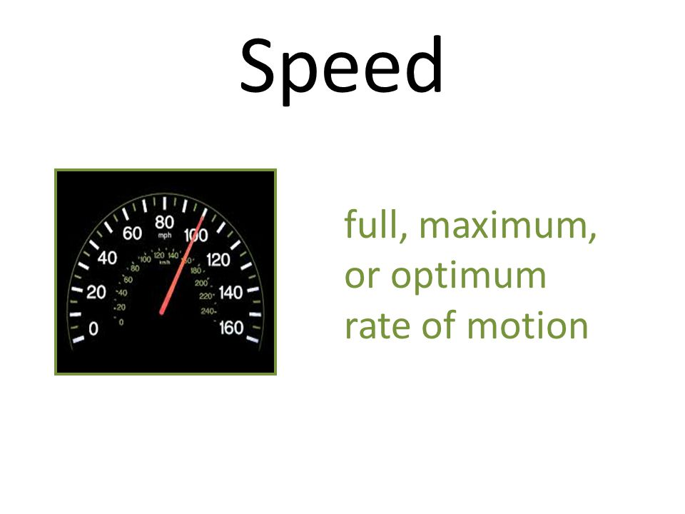 Speed full, maximum, or optimum rate of motion