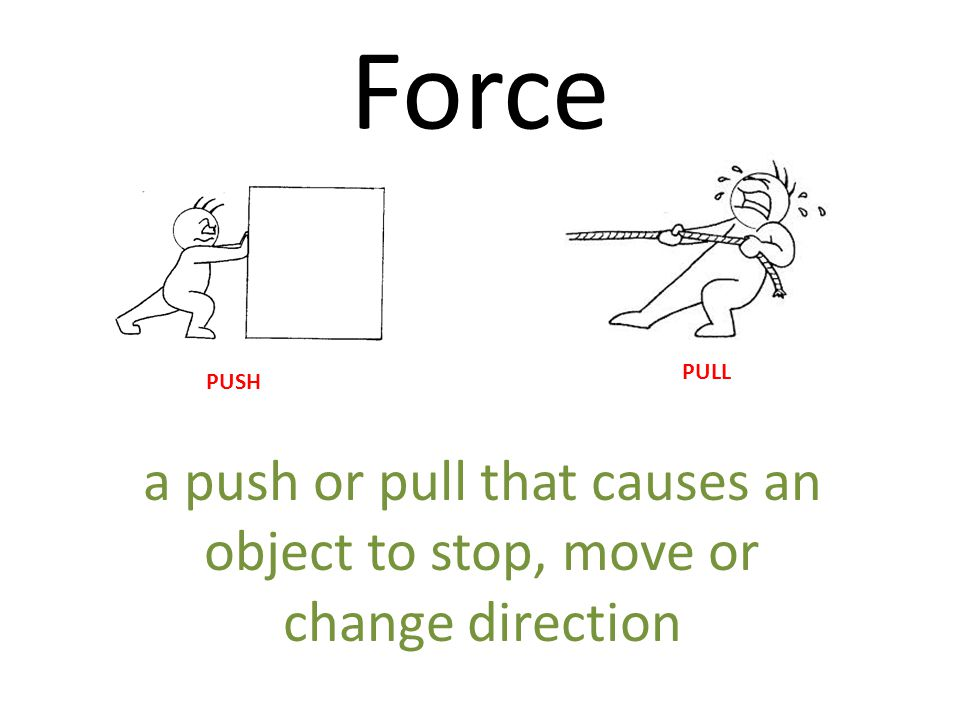 a push or pull that causes an object to stop, move or change direction