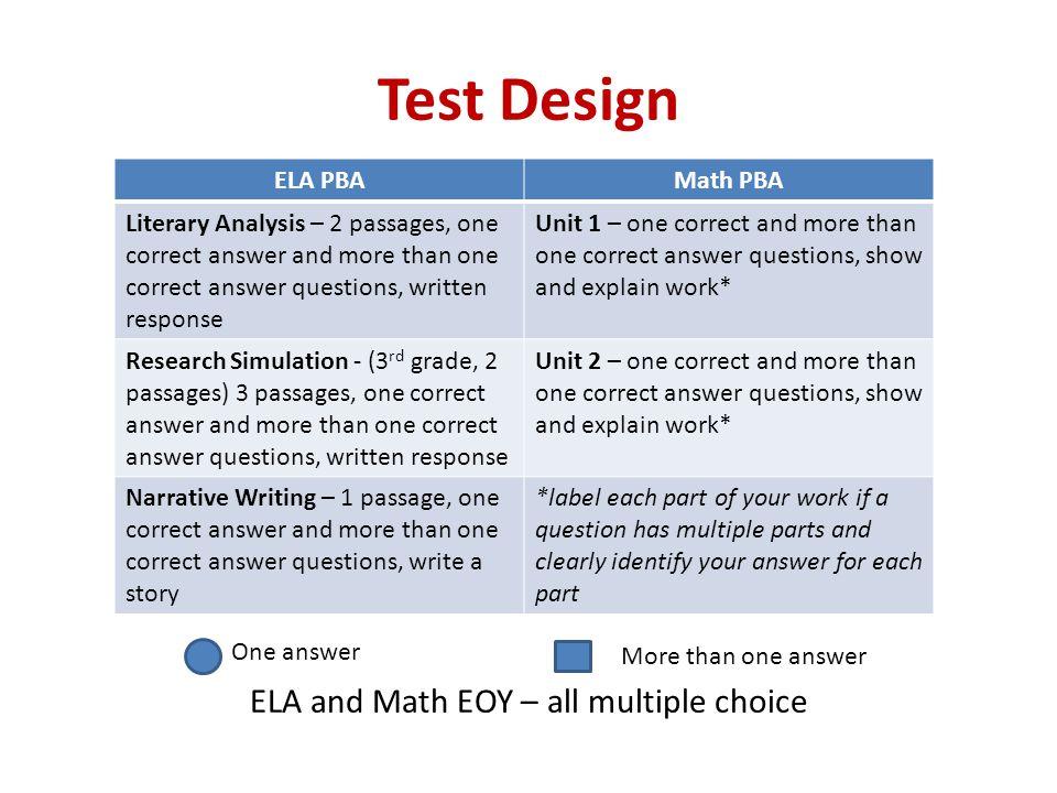 ELA and Math EOY – all multiple choice