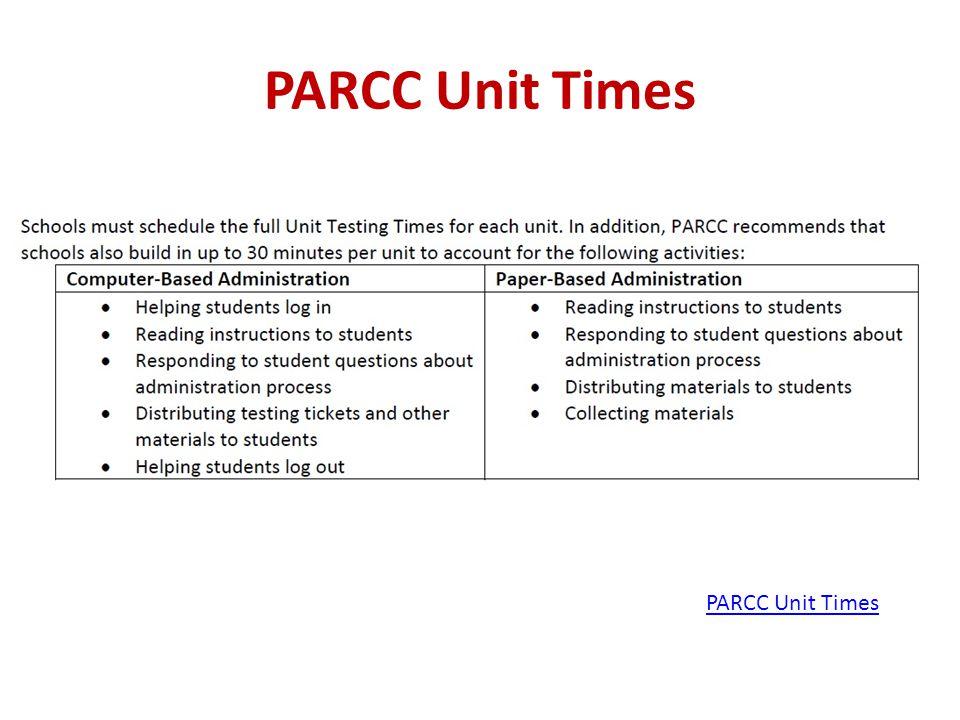 PARCC Unit Times PARCC Unit Times