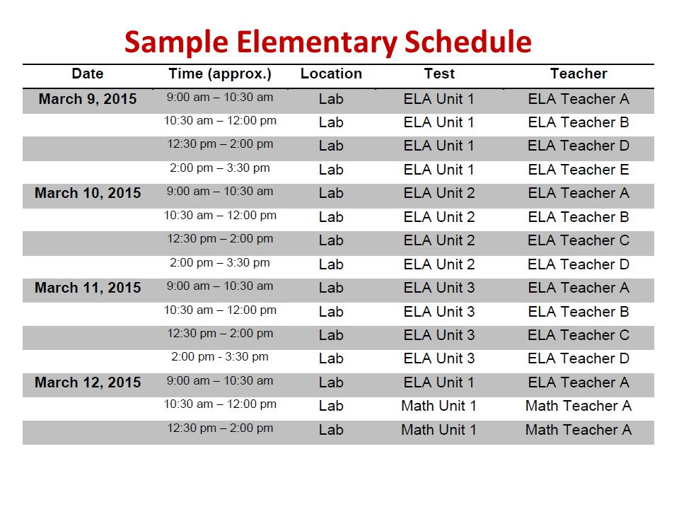 Sample Elementary Schedule