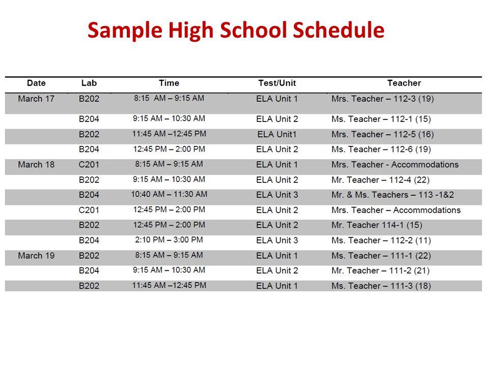 Sample High School Schedule