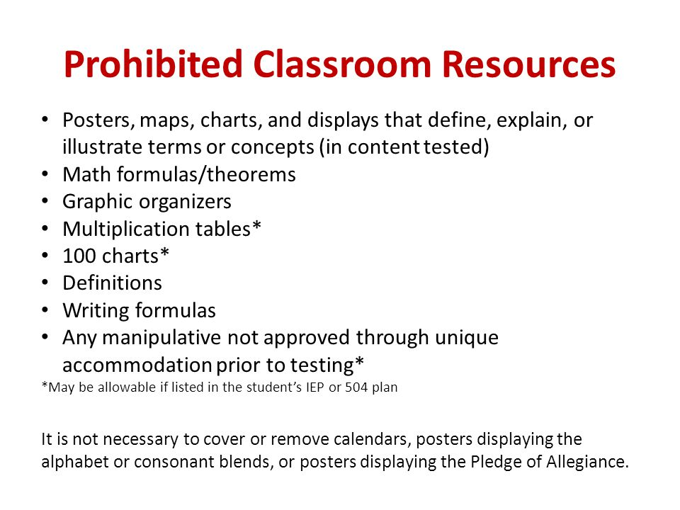 Prohibited Classroom Resources