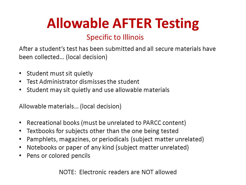 Allowable AFTER Testing
