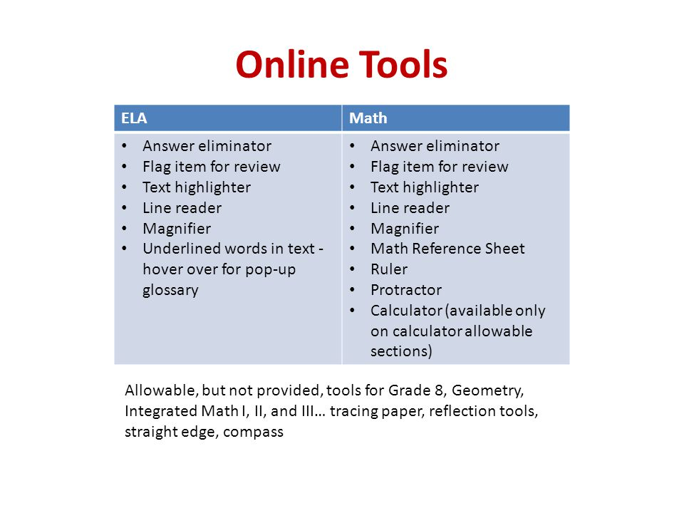 Online Tools ELA Math Answer eliminator Flag item for review