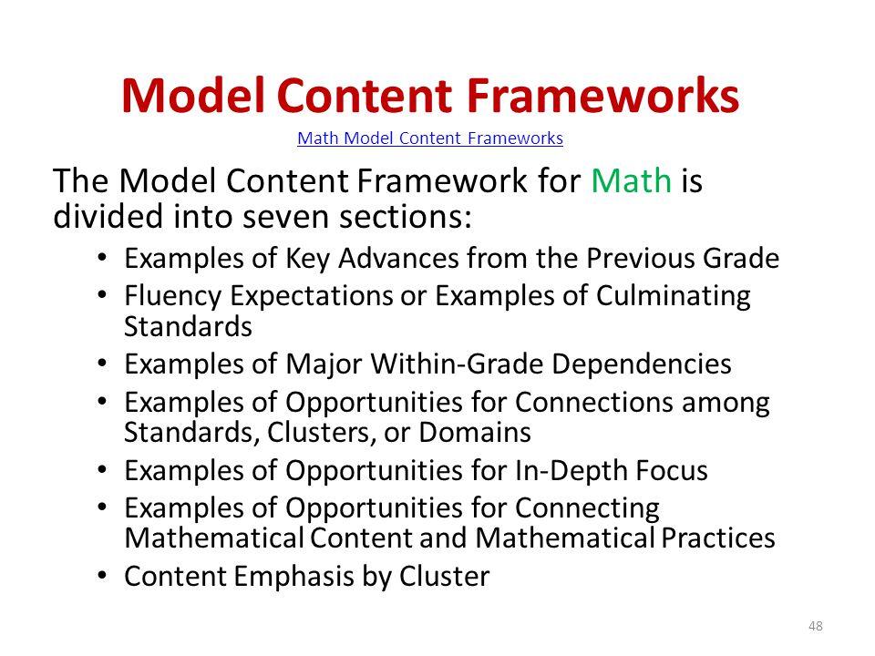 Model Content Frameworks Math Model Content Frameworks