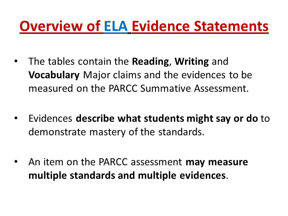 Overview of ELA Evidence Statements