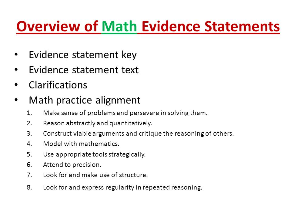 Overview of Math Evidence Statements