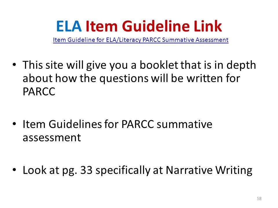 ELA Item Guideline Link