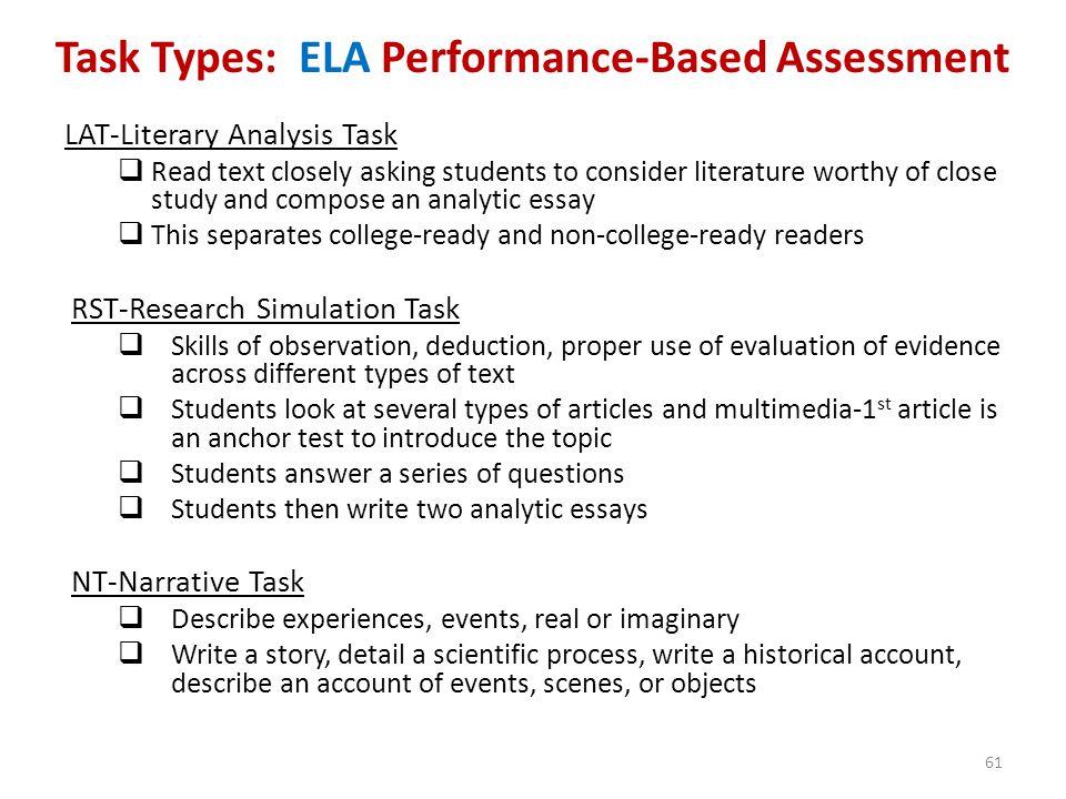 Task Types: ELA Performance-Based Assessment