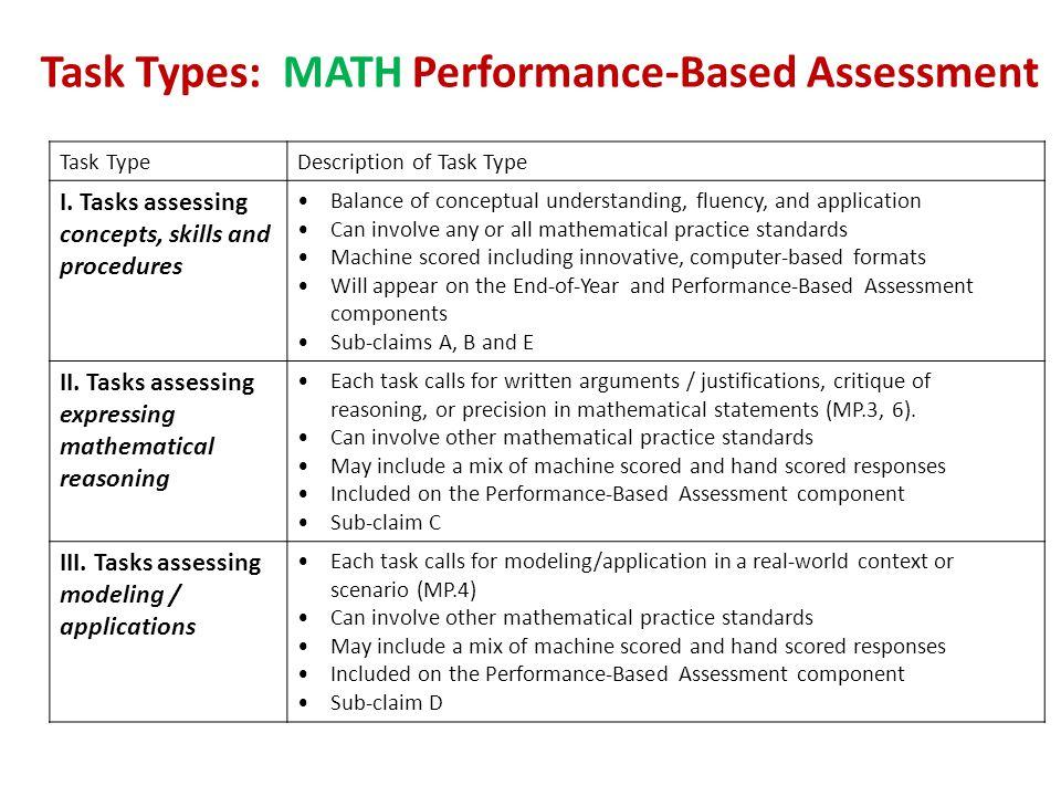 Task Types: MATH Performance-Based Assessment
