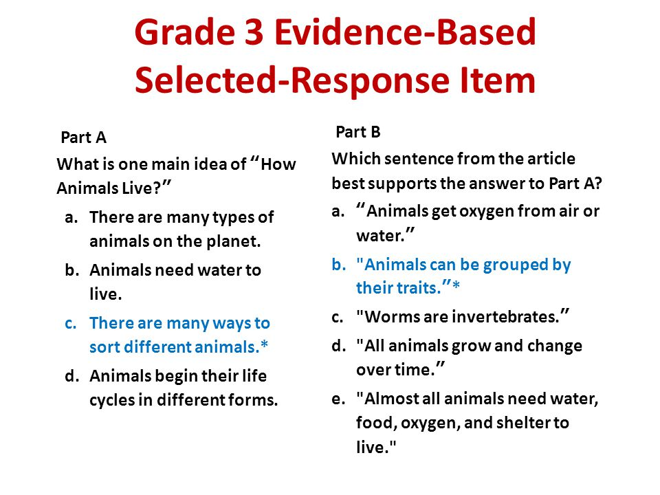 Grade 3 Evidence-Based Selected-Response Item