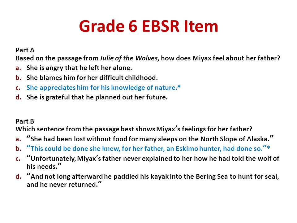 Grade 6 EBSR Item Part A. Based on the passage from Julie of the Wolves, how does Miyax feel about her father
