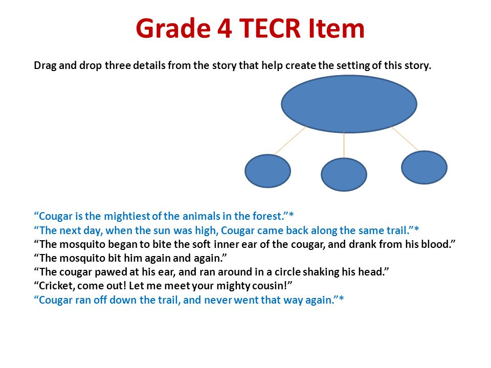 Grade 4 TECR Item Drag and drop three details from the story that help create the setting of this story.