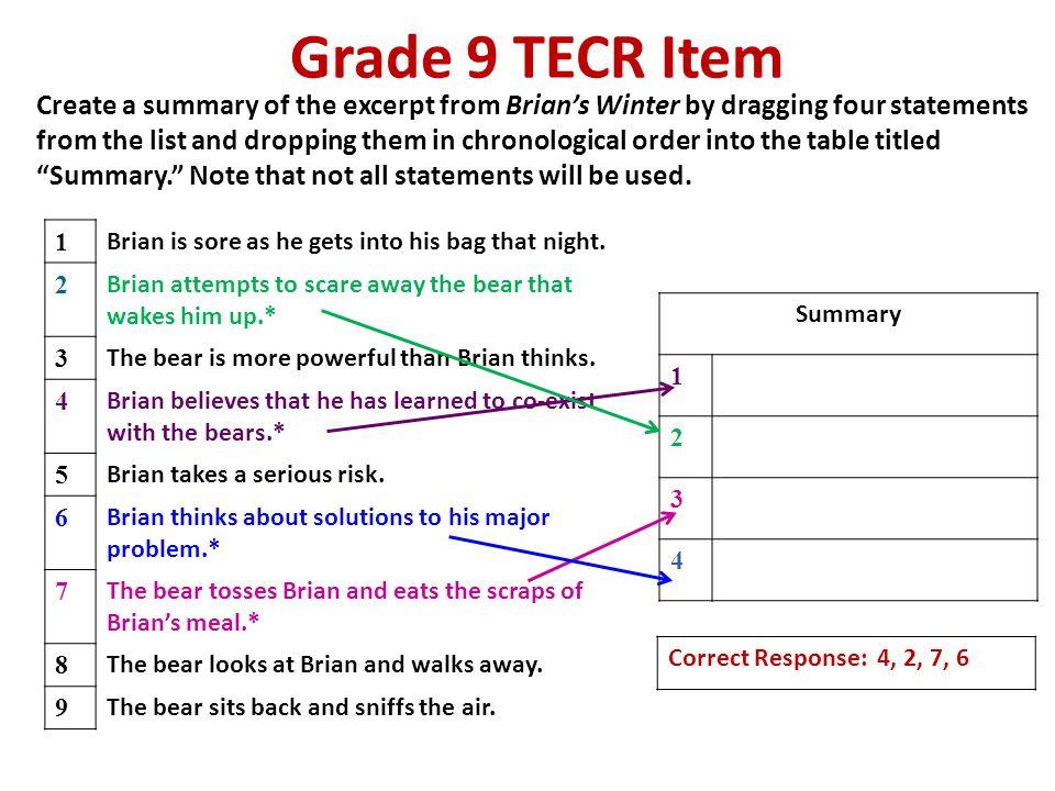 Grade 9 TECR Item