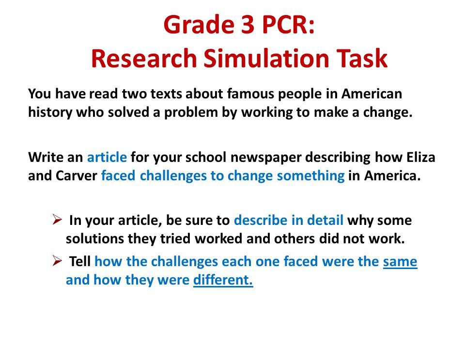Grade 3 PCR: Research Simulation Task