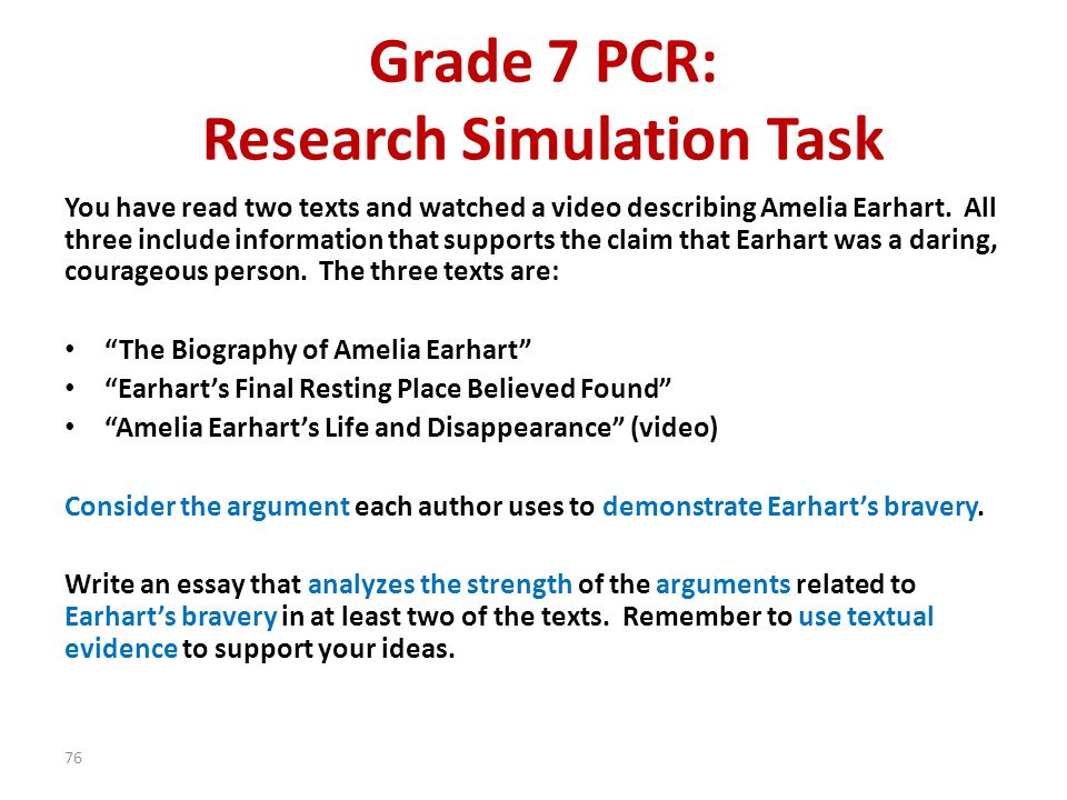 Grade 7 PCR: Research Simulation Task