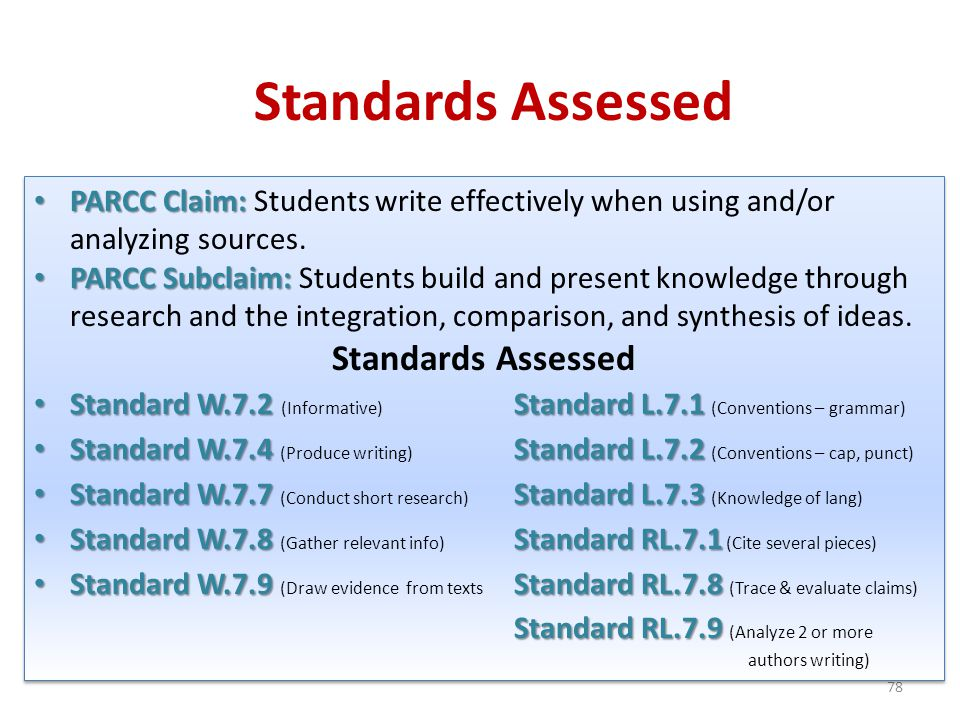 Standards Assessed Standards Assessed