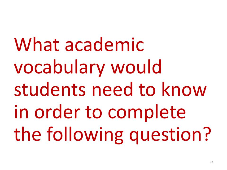 What academic vocabulary would students need to know in order to complete the following question